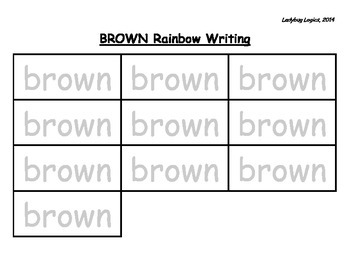 Rainbow Writing - Color Word - Brown