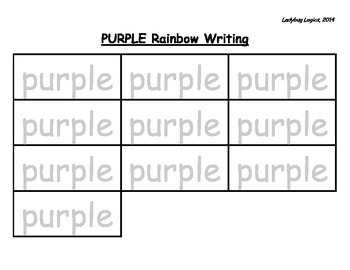 Rainbow Writing - Color Word - Purple