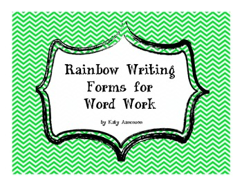 Rainbow Writing Forms for Word Work