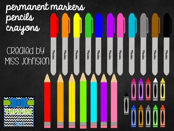 Rainbow Writing Instruments Clipart