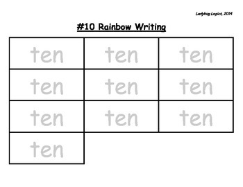 Rainbow Writing - Number Word - Ten - 10