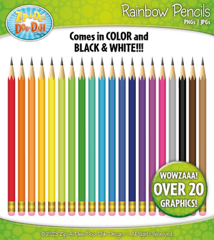 Rainbow Writing Pencils Clipart — Over 20 Graphics!
