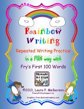 """20 """"Rainbow Writing"""" Practice Pages for Fry's FIRST 100 Si"""