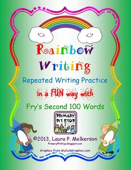 """20 """"Rainbow Writing"""" Practice Pages for Fry's SECOND 100 S"""