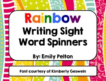 Rainbow Writing Sight Word Spinners