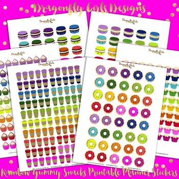 Rainbow Yummy Treats Printable Planner Stickers Kit-6 page