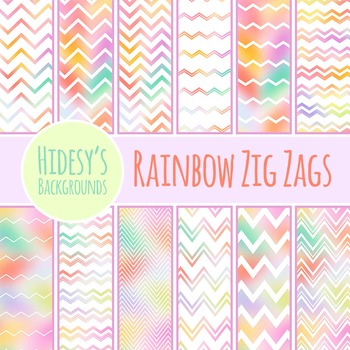 Rainbow Zig Zags Patterns / Digital Papers / Backgrounds C