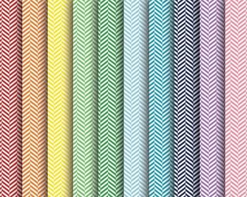 Rainbow Zipper Chevron Papers, Rainbow, Zipper, Chevron, Set #232