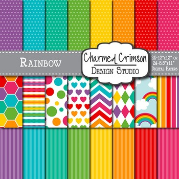 Rainbow and Cloud Digital Paper 1098