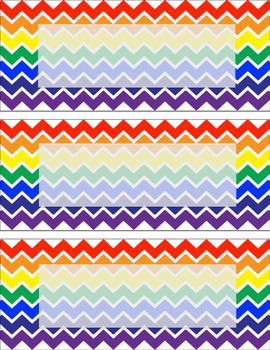 Rainbow chevron Labels or Name tags