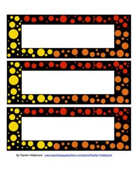 Rainbow dots name plates
