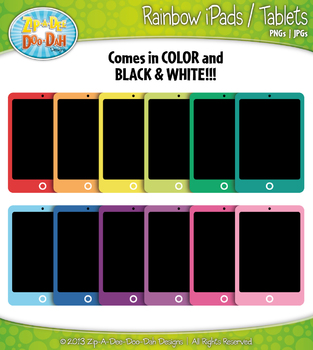 Rainbow Pad / Tablet Clip Art — Includes 18 Graphics!