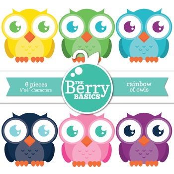 Rainbow of Owls- Freebie 6 Pack