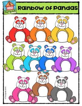 Rainbow of Pandas {P4 Clips Trioriginals Digital Clip Art}