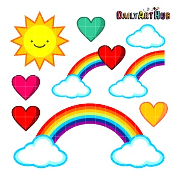 Rainbows Clip Art - Great for Art Class Projects!