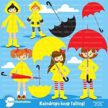 Rainy Day Clipart, Weather Clipart, Umbrella Clipart, Digi