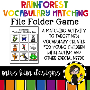 Rainforest Animal Vocabulary Folder Game for students with Autism