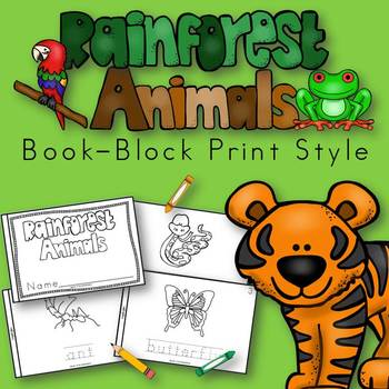 Rainforest Animals Book for Kindergarten and 1st Grade {Bl