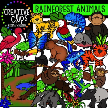 Rainforest Animals Clipart {Creative Clips Clipart}
