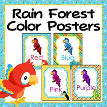 Rainforest Animals Theme Color Posters