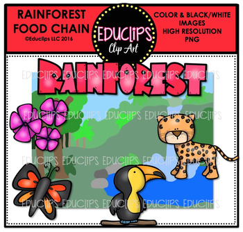 Rainforest Food Chain Clip Art Mini Bundle {Educlips Clipart}