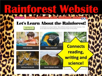 Rainforest Interactive Website Access-Connect Reading, Wri