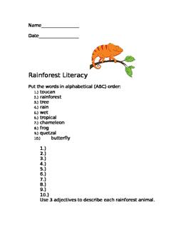 Rainforest Literacy Packet