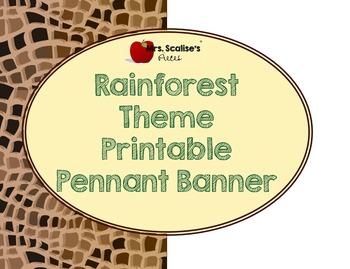 Rainforest Theme Pennant Banner Printable
