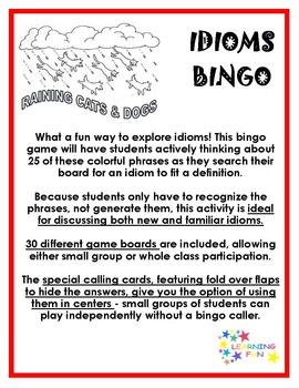 Raining Cats & Dogs Idioms Bingo