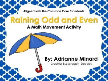 Raining Odd and Even Math and Movement Activity for First