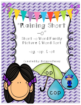 Raining Short -o Picture & Word Sort
