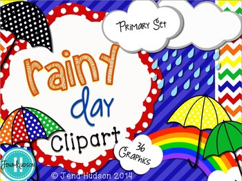 Rainy Day Clipart: Primary Set
