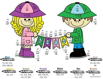 Rainy Day Color by Number-- Double Digit Addition and Subtraction