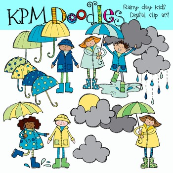 Rainy Day Kids Clip Art