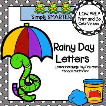 Rainy Day Letters:  LOW PREP Letter Matching Play-Doh Mats