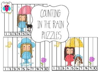 Rainy Day Preschool Number Puzzle