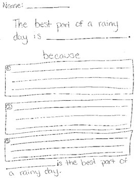 Rainy Day writing with details
