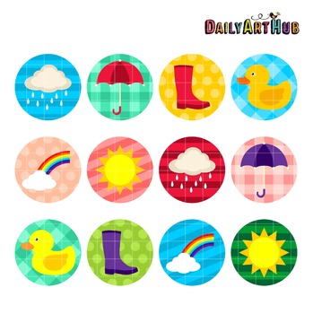 Rainy Days Collage Art Clip Art - Great for Art Class Projects!