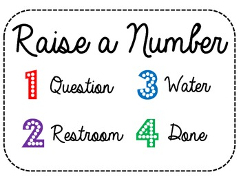 Raise a Number Classroom Management Sign
