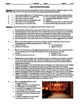 Raise the Red Lantern Film (1991) 15-Question Matching and