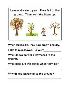 Raking Leaves Fall Following Directions Comprehension Emer