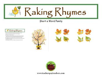Raking Rhymes Fall Phonics Game Activity Word Families Short e