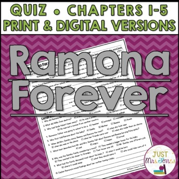 Ramona Forever Quiz (Ch. 1-5)