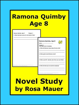 Ramona Quimby Age 8 Reading Comprehension