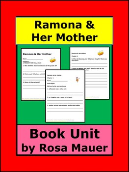 Ramona and Her Mother Book Unit