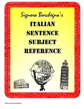 Random Subjects for Creating Italian Sentences