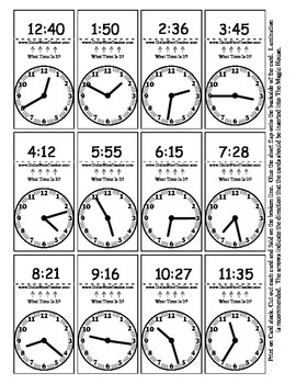 Random Telling Time - Clock Reading - Magic House Pieces -
