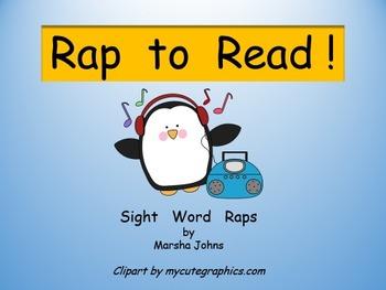 """Rap to Read"" Sight Word Raps Powerpoint 2013 version"