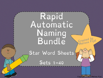 Rapid Automatic Naming Star Word {BUNDLE} Complete Set 1-40