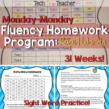 Sight Word Fluency Homework Program: Rapid Words (Monday-Monday)